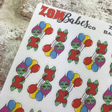 Birthday / Balloon / Celebration Zombabe character sticker for planners (ZB32)