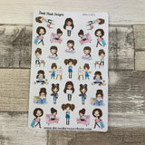 Mixed character White Woman Stickers (DPD1451)