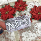 Personalised kids / adults Christmas Present Labels. (46 Wood)