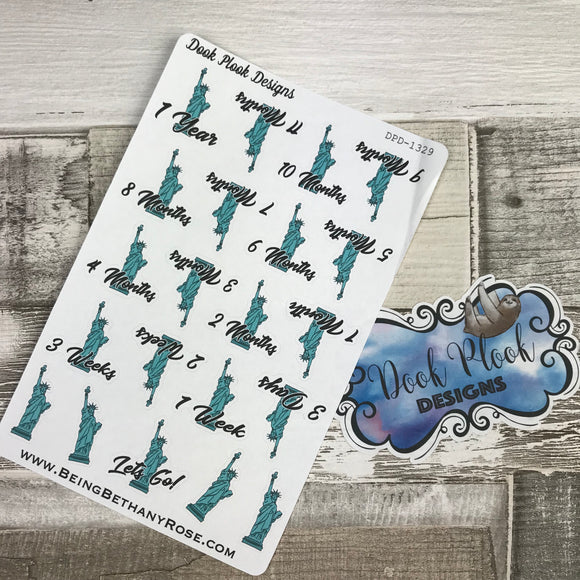 New York Countdown stickers for planners, Erin Condren, happy planner, Filofax, Kikki K, bullet journal etc (DPD1329)