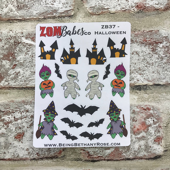 Halloween Scary Zombabe sticker for planners (ZB37)