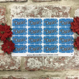 Personalised kids / adults Christmas Present Labels. (41 Blue snowflakes)