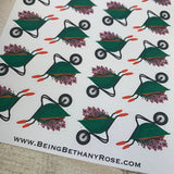 Wheelbarrow / Gardening stickers  (DPD140)