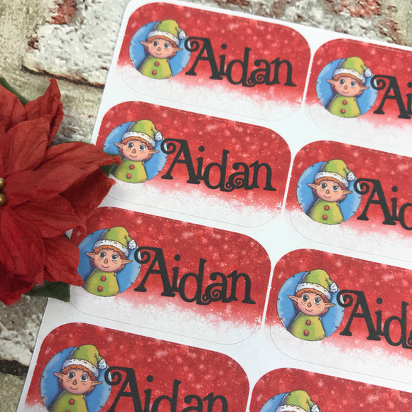 Personalised kids / adults Christmas Present Labels. (19 Elf)