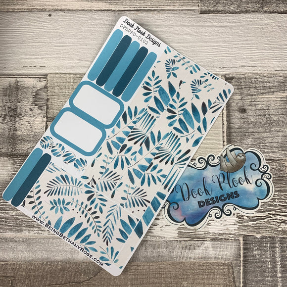 (0102) Passion Planner Daily stickers - Blue Leaf