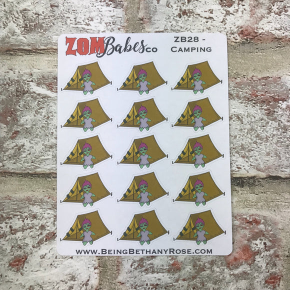 Camping / Tent Zombabe character sticker for planners (ZB28)
