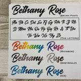 Personalised name stickers for planners (Matte or Gloss, 28 different colours) 0005-Brush