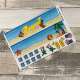 Beach Monthly View Kit (can change month) for the Erin Condren Planners