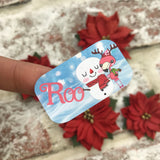 Personalised kids / adults Christmas Present Labels. (50 Flamingo Snowman)