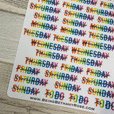 Day cover up / week day stickers (rainbow) (DPD1485)