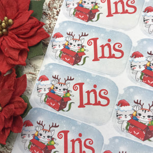 Personalised kids / adults Christmas Present Labels. (52 Cats)