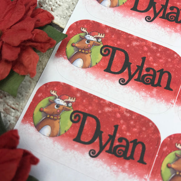 Personalised kids / adults Christmas Present Labels. (20 Reindeer)