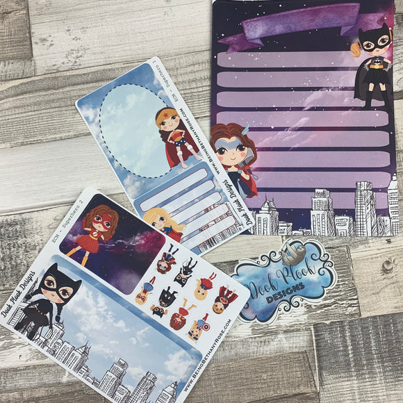 Erin Condren Month Note Pages (Girl Superhero)