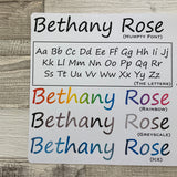 Personalised name stickers for planners (Matte, Gloss or Foil, 28 different colours) 0006-Humpty
