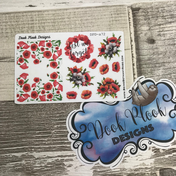 Remembrence Day (Poppy) Stickers (Small Sampler Size) A72