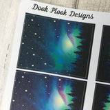 Northern Lights box / Aurora Borealis sticker set for Erin Condren (DPD432)