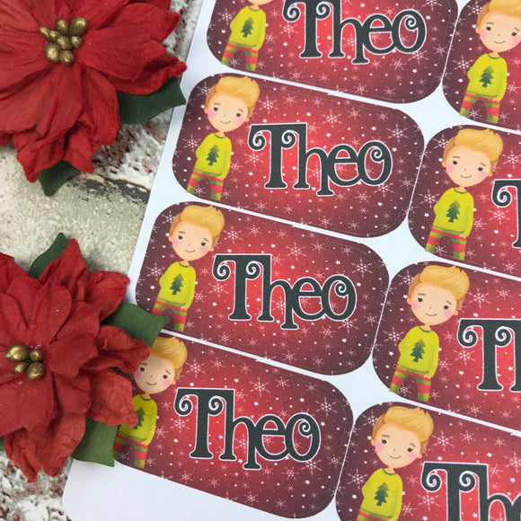 Personalised kids / adults Christmas Present Labels. (25 Blonde Boy)