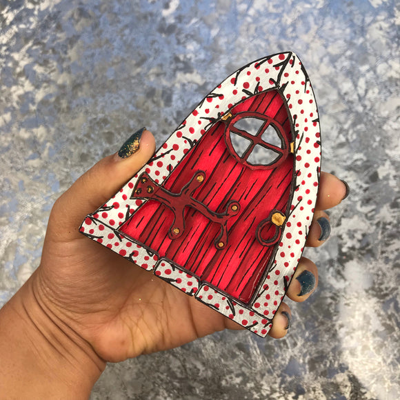 Red Christmas Elf / Fairy Door