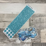 Passion Planner Hour Cover up / Washi strip stickers Ice Blue Glitter DPDW-9)