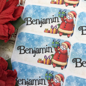 Personalised kids / adults Christmas Present Labels. (43 Santa)