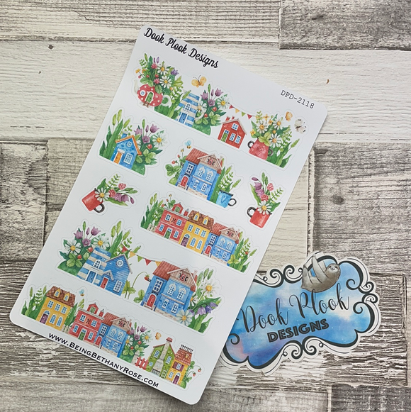 Watercolour houses stickers (DPD2118)