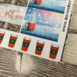 Christmas hot chocolate / coffee / drink stickers (DPD1164)