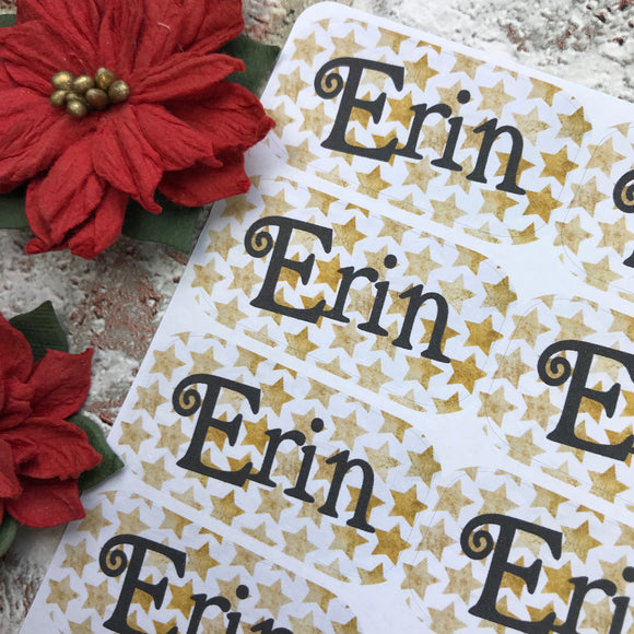 Personalised kids / adults Christmas Present Labels. (12 Gold Star)
