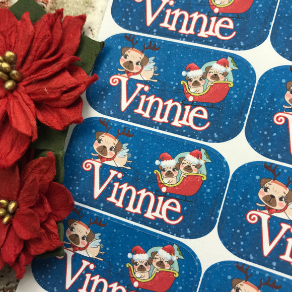 Personalised kids / adults Christmas Present Labels. (24 Pugs)