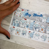 Yeti (winter) Monthly View Kit (can change month) for the Erin Condren Planners