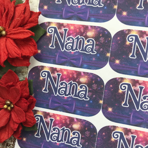 Personalised kids / adults Christmas Present Labels. (56 purple bow)