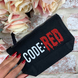 Code: Red ( White and Red glitter)- Tampon, pad, sanitary bag / Period Pouch