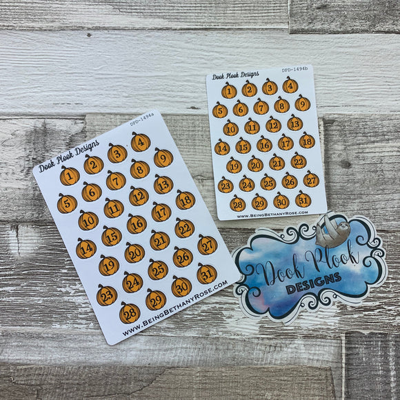 Pumpkin date dots (2 sizes) stickers (DPD1494)
