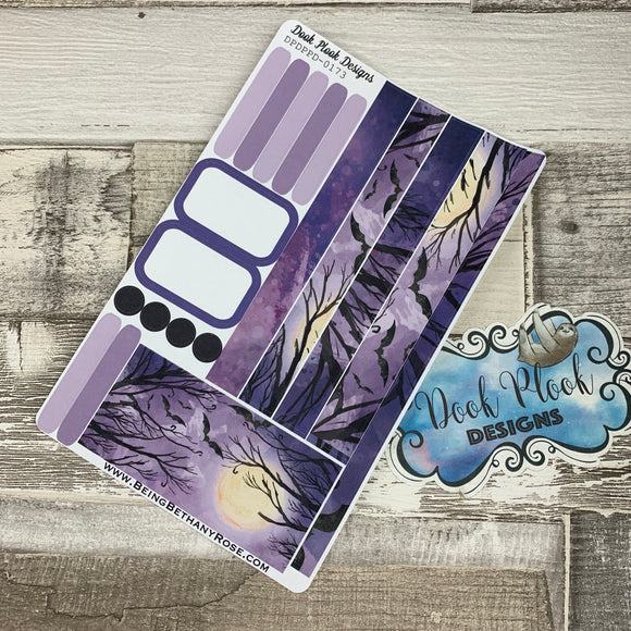 (0173) Passion Planner Daily stickers - Purple Bats