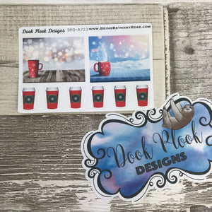 Christmas Coffee Cup / Drink stickers (Small Sampler Size) A723