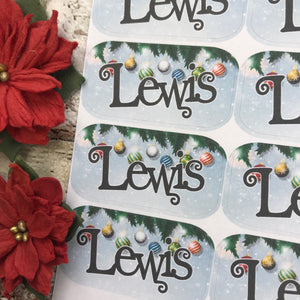 Personalised kids / adults Christmas Present Labels. (42 Baubles)