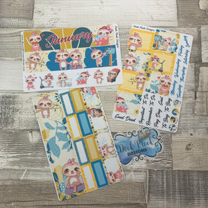 Sloth (can change month) Monthly View Kit for the Erin Condren Planners
