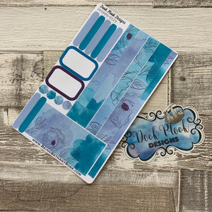 (0129) Passion Planner Daily stickers - Watercolour Flowers Aqua