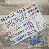 Personalised name stickers for planners (Matte, Gloss or Foil, 28 different colours) 0012-Charles