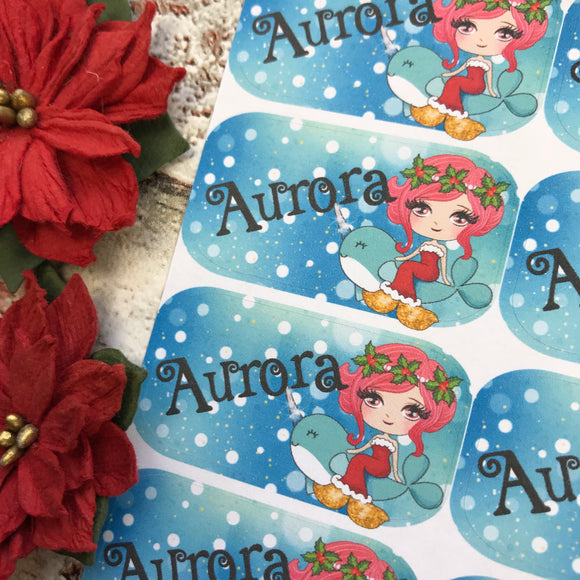 Personalised kids / adults Christmas Present Labels. (36 pink mermaid)