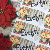 Personalised kids / adults Christmas Present Labels. (30 Fox)