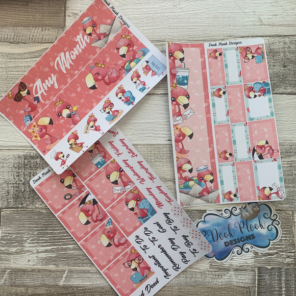 Flamingo Monthly View Kit (any month) for the Erin Condren Planners