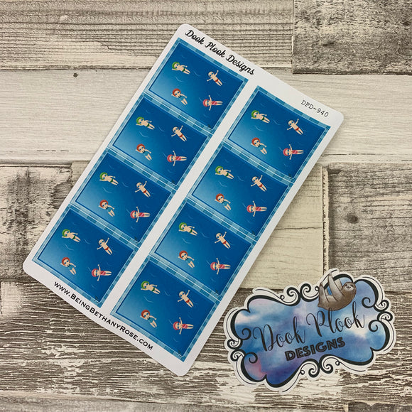 Swimming Full Box stickers for Erin Condren Vertical (DPD940)