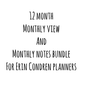 Erin Condren Monthly View AND Notes Kit Bundle (12 month)