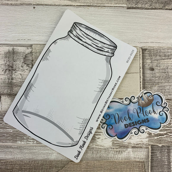 Empty mason jar sticker for bullet journals (BUJO-0020)