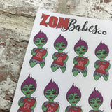 Oil Check / Car MOT Zombabe character sticker for planners (ZB36)