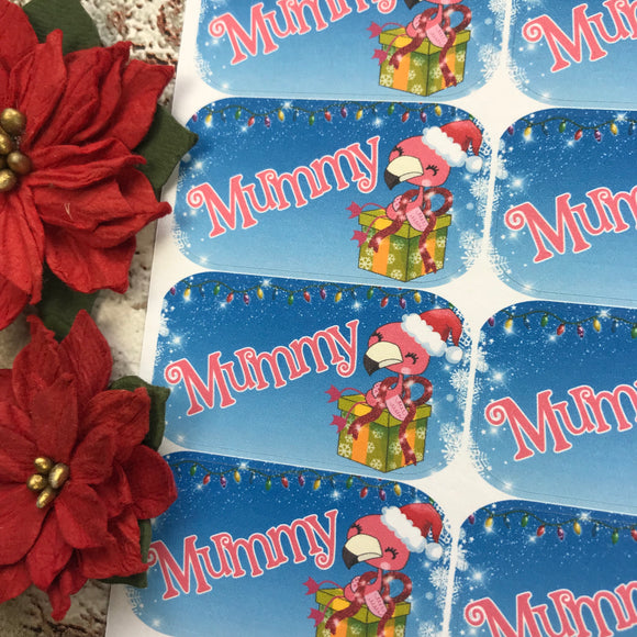 Personalised kids / adults Christmas Present Labels. (49 Flamingo present)