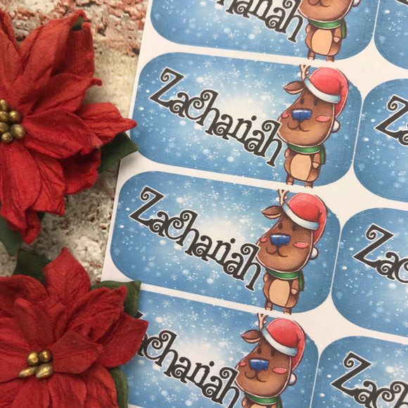 Personalised kids / adults Christmas Present Labels. (39 Reindeer)
