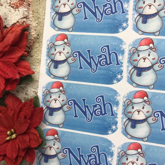 Personalised kids / adults Christmas Present Labels. (53 Bear)
