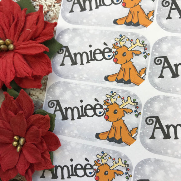 Personalised kids / adults Christmas Present Labels. (8 reindeer)