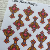 Ornate cross stickers for planners (DPD-D1281)